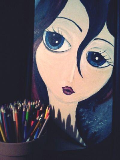 Paintings People Paintings Big Eyes Crayons