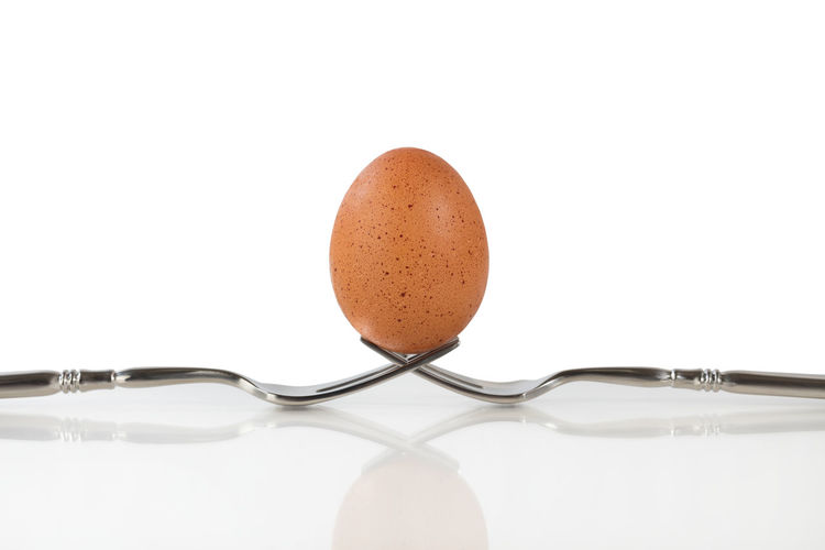 Close up of a whole brown egg balanced on two forks. Isolated on white background with egg in vertical position. Breakfast Brown Egg Egg Food Healthy Eating Organic Protein Raw