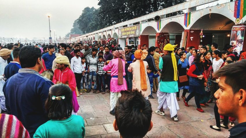 Large Group Of People Women Crowd Multi Colored Men Real People Day Outdoors People Adult Mobilephotography PhonePhotography Yellow Sunlight Architecture Shades Window Winter Haryana, India Backgrounds Culture Dance Streetshow