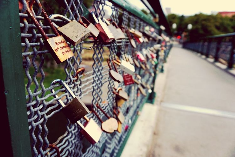 May our love last like an unbreakable lock Security Protection Architecture Bridge - Man Made Structure Metal City Luck Hanging Railing Bridge Large Group Of Objects Built Structure Day First Eyeem Photo