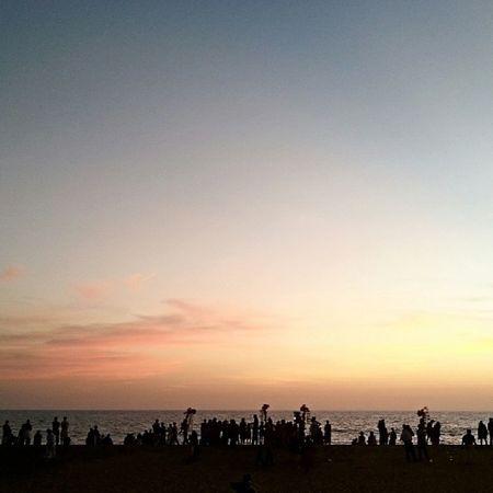 At Shangumugham Beach , Trivandrum ... Evening Sunset and Street Vendors Hawking their Stuff ...