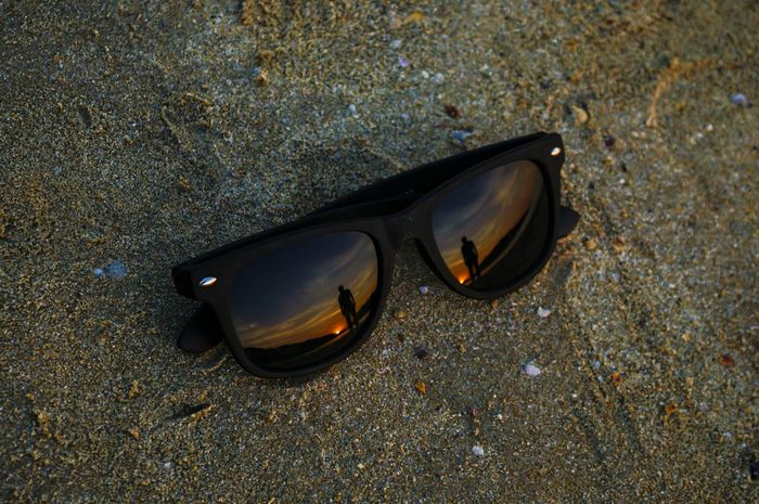 Sunset through different eyes... Reflection Beach Nature Sky Sunset Sunsetreflections Sunsetreflection Goa Glasses