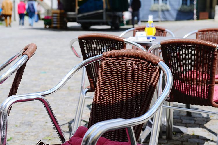 Food And Drink Leisure Time Street Cafe EyeEm Selects Focus On Foreground Seat Chair Day Bicycle Table No People Close-up Metal High Angle View Outdoors