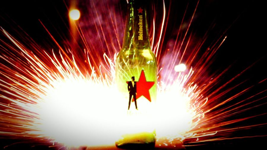 I'm the man up in this ... Heineken Beer Fireworks 4K Lumix Fire In A Bottle