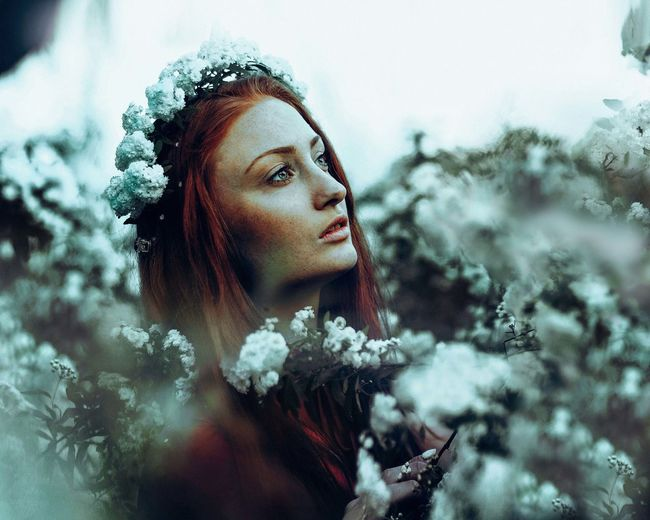 Cyan. Flickr: https://www.flickr.com/photos/starting-again/ Adult Beautiful People Beautiful Woman Beauty Beauty In Nature Cold Temperature Day Dreaming Fairy Fashion Females Flower Human Body Part Human Face Nature Outdoors People Portrait Snow Snowflake Tree Warm Clothing Winter Women Young Adult Young Women
