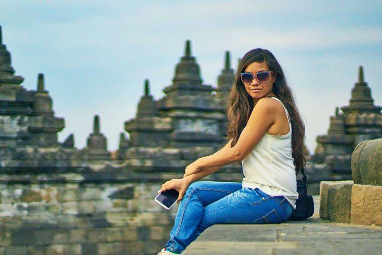 Borobudur Fun INDONESIA My Wife Posing Showcase: November Travel Photography Traveler Traveling Yogyakarta Picturing Individuality Letyourhairdown
