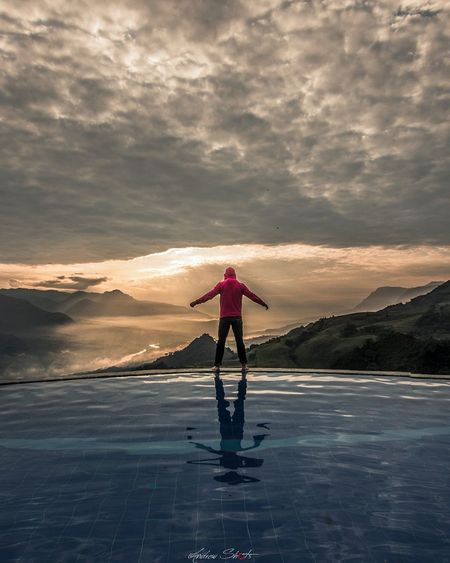 The Week On EyeEm Full Length One Person Standing Rear View Landscape Reflection Sunset Outdoors One Man Only Only Men Adult Beach Adults Only Lake Water People Red Scenics Sky Mountain
