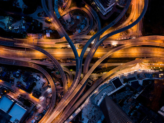 Aerial View Of Light Trails On Highway In City