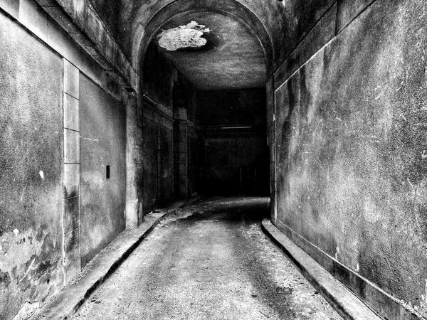 Blackandwhite Tunnel View Darkness And Light Shadows & Lights Grainy Wall Textures Empty Places