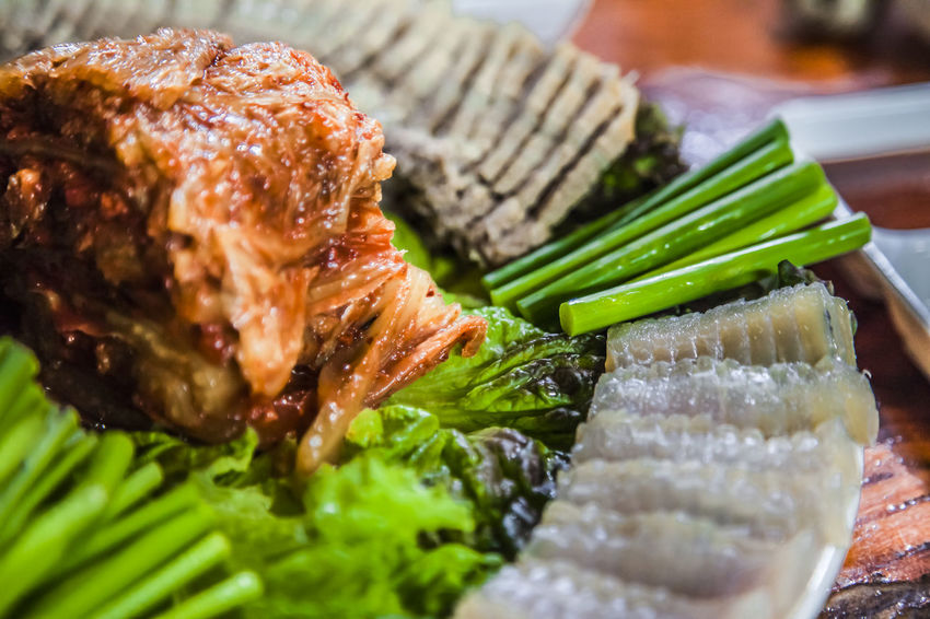 Close-up Fermented Skate Food Food And Drink Freshness Fruit Garlic Stem Healthy Eating Healthy Lifestyle Indoors  Indulgence Kimchi!!!!! Leaf Organic Plate Preparation  Ready-to-eat Selective Focus Steamed Pork Still Life Table Temptation Variation Vegetable Water Parsley