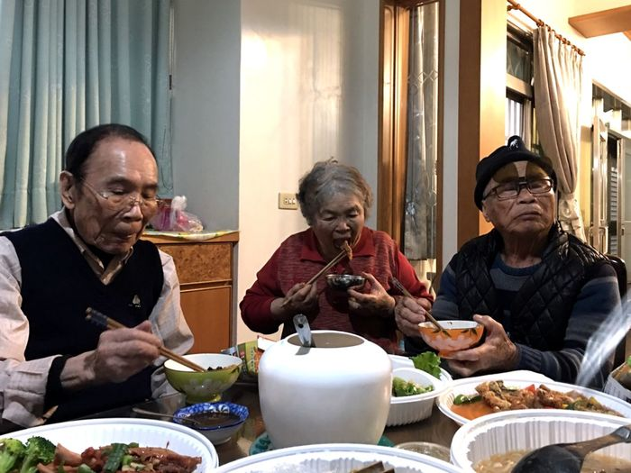 China new year Get Together Food Granfather Grandmother China New Year Family This Is Aging