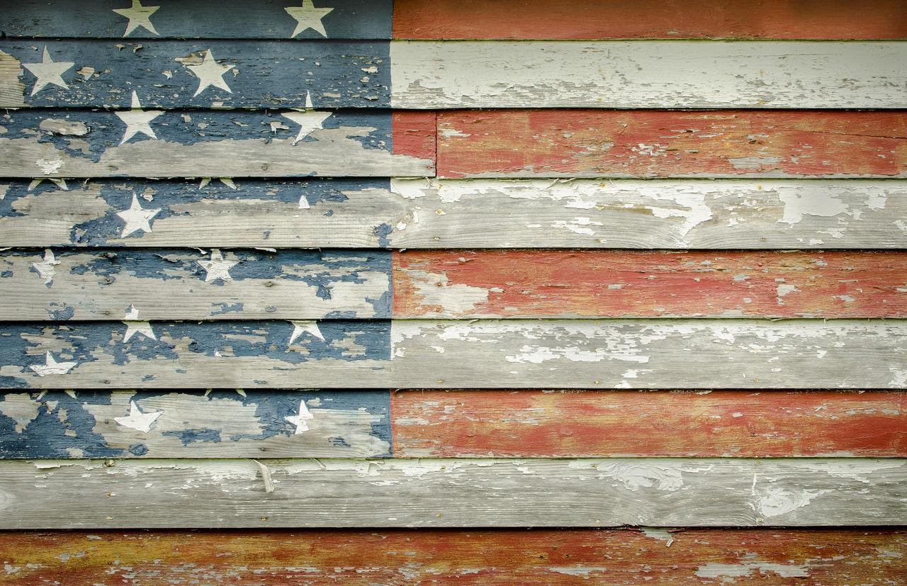 Full frame shot of wooden american flag wall