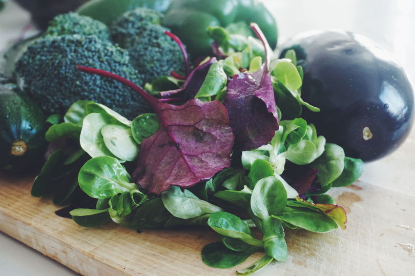 fresh vegetables Eggplant Lettuce Squash Zucchini Vegetable Fresh Vegetables Vegetarian Food Vegetables & Fruits Healthy Eating Healthy Food Mint Leaf - Culinary Variation Herb Vegetable Close-up Food And Drink Cutting Board Chopping Salad Lettuce
