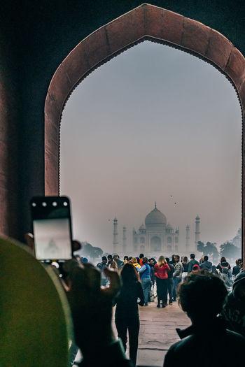 Taj mahal gate in winter