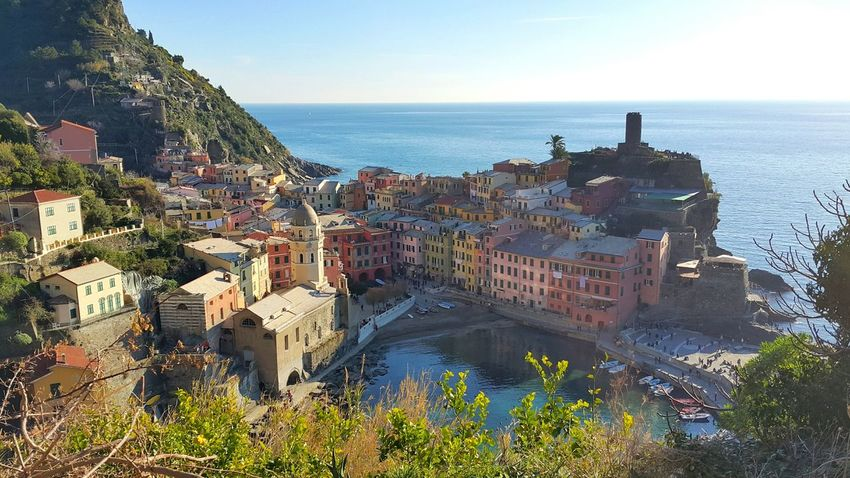 The village Picturesque Picturesque Village Vernazza Italy Small Town By The Sea Tourist Destination Sea Sky Phone Photography From Where I Stand From A Distance View From The Hill The City Light Neighborhood Map High Angle View Scenics No People Built Structure Water