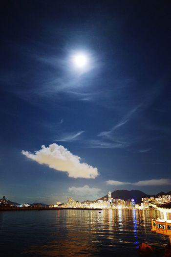 Blue Moon. HongKong Discoverhongkong Leica_Q Leica EyeEm Best Shots Blue Moon Nightphotography Victoriaharbour Summer_night Hello World