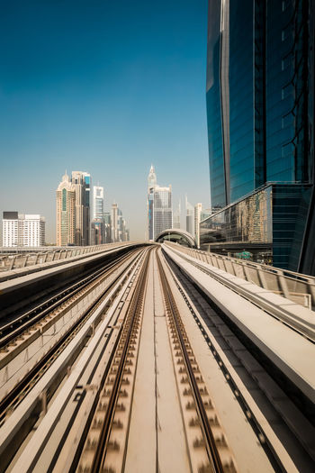 Railroad tracks in city against clear sky