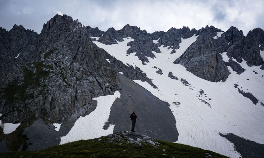 Scenic view of a man standing against the mountain dummit