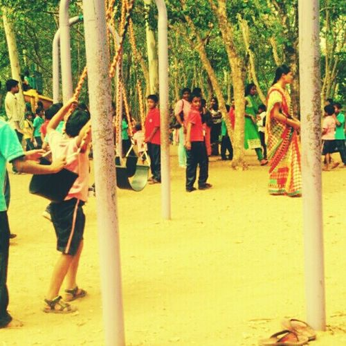 Village View Playing Swings Sea-saws Brightday☀ Livelytouch Children Playing Away From The Hustle Beautiful Sight🍀 Laughing Faces Peaceful View Makeslifehappier Childhood Memories