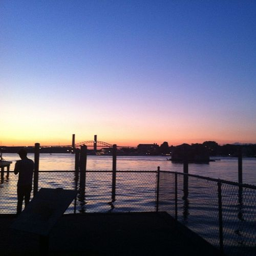 No filter. Fence Dock Portsmouth Newhampshire Piscatiquariver River Water Sunset Home Sky Bridge Color
