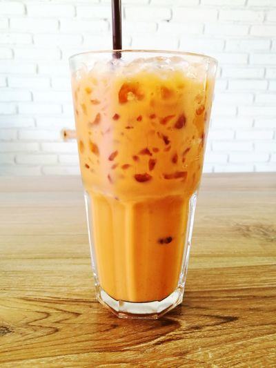 Thai Tea Thaitea Cold Drink Food And Drink Drinking Glass Drink No People Refreshment Day Close-up Delicious Goodtaste