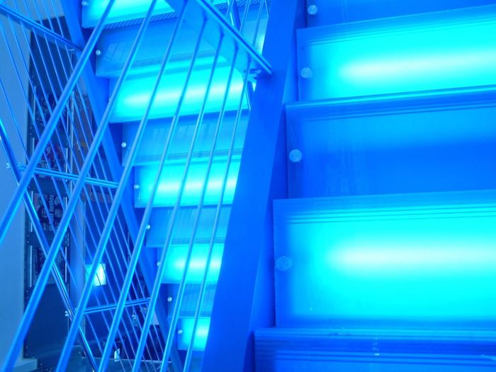 Blue Architecture Built Structure Pattern Modern Steps Indoors  No People Abstract Full Frame Backgrounds Illuminated Day I Want To Know Your Secret, C I Always Thinking About U, G Thank You,❤️ The Architect - 2017 EyeEm Awards