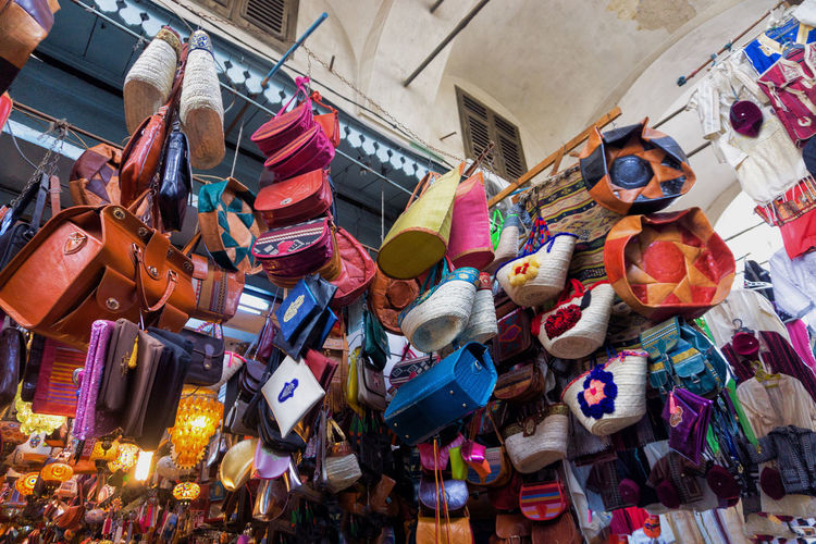 Low angle view of toys for sale in market