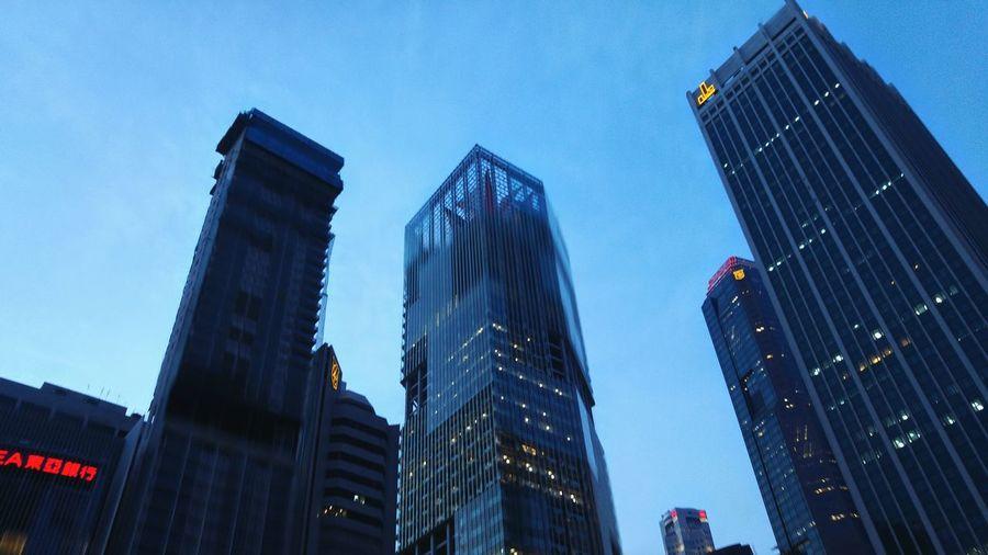 The blue hour. Singapore Blue Hour Blue Urban Urban Landscape City ASIA Look Up