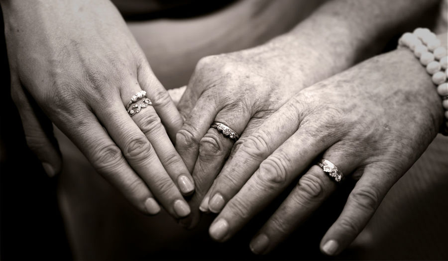 Cropped hands of woman wearing rings