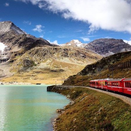 Treninorossodelbernina Trenino Rosso Bernina Express Swizerland St. Moritz Alps Swiss Alps Red Train Lake The Great Outdoors - 2015 EyeEm Awards