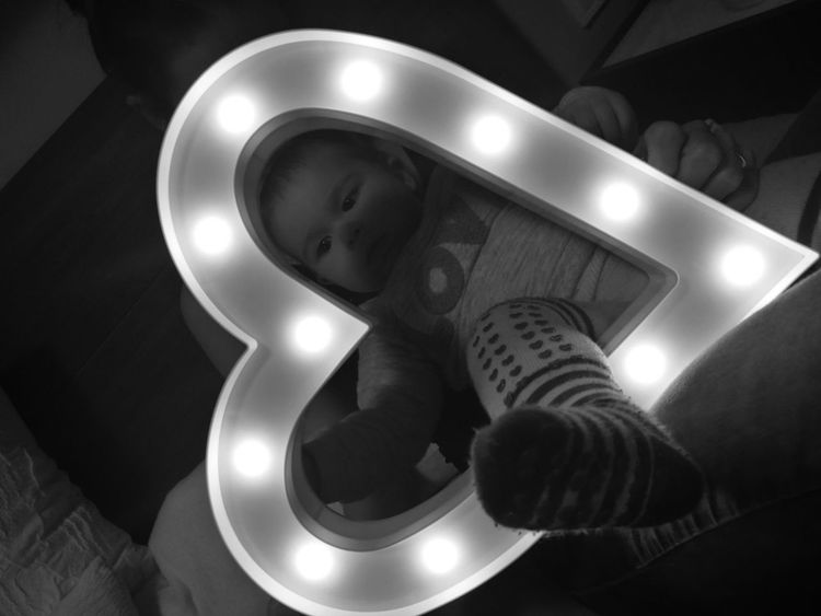 Sweets child in my heart Sweet Badtime Babygirl Toddler  Heart Shape Black & White Light And Shadow Human Body Part One Person High Angle View Indoors  Low Section People