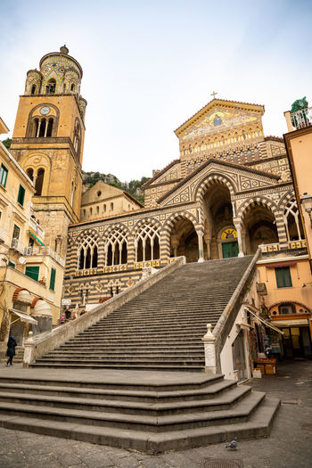 Italy Amalfi  Amalfi Coast Architecture Built Structure Building Exterior Belief Place Of Worship Spirituality Religion Building Staircase Sky Low Angle View Day The Past History Nature Steps And Staircases Travel Destinations Arch No People Outdoors Ornate