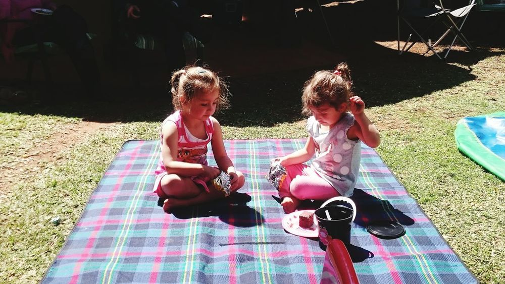 The Color Of School Two Little Girls Picnic Blanket Sumerday Bonding Togetherness Happiness