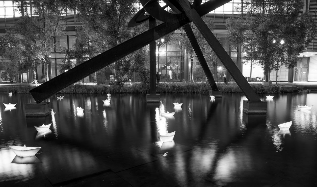 built structure, architecture, water, reflection, tree, bridge - man made structure, day, building exterior, outdoors, no people, city, nature