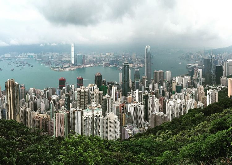 Victoria Harbour Against Cloudy Sky