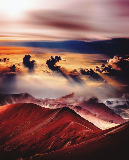 Landscape_Collection Landscape Planet Earth Mountain Red Sunset Awe Fog Oil Pump Sky Landscape Cloud - Sky Blood Orange Halved Cross Section Lightning Power In Nature Hiker Atmospheric Mood Snowcapped Mountain Dramatic Sky Forked Lightning Sky Only