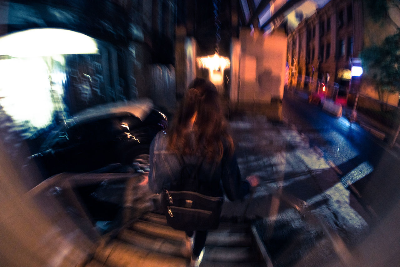 blurred motion, street, city, night, walking, architecture, built structure, motion, building exterior, real people, illuminated, women, outdoors