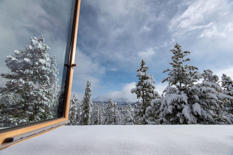 Snowy landscape from an open window in the Colorado Rocky Mountains Snow Covered Forest High Elevation Mountain Range Colorado Open Window Tree Snow Plant Winter Sky Cold Temperature Cloud - Sky Outdoors Covering Beauty In Nature Day No People Nature Snowcapped Mountain Scenics - Nature Glass - Material