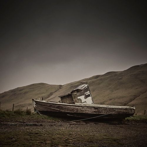 Nautical Vessel Mountain Transportation Mode Of Transport Abandoned Nature Sky Outdoors No People Landscape Beauty In Nature Day Nature Boat