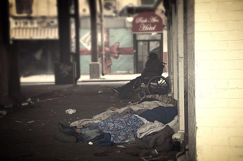 No vacancy Homeless Herion Addiction Hotel Streetphotography Wheelchair 125th Street~ Blackmen