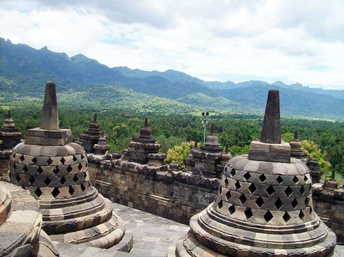 Temple against cloudy sky