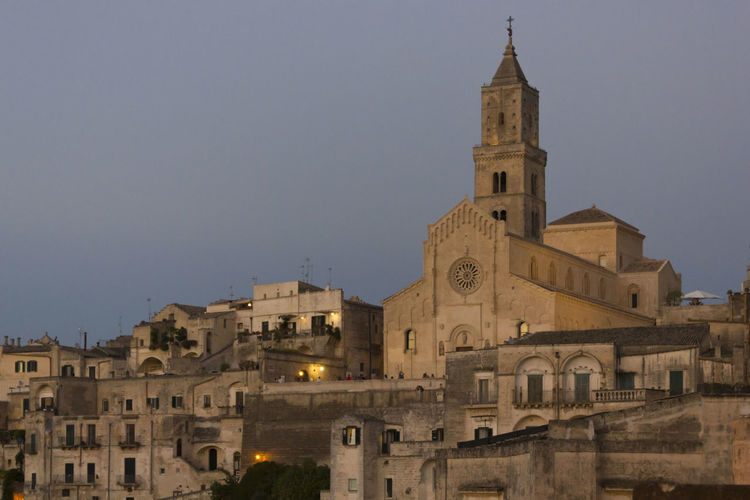 Matera Italy Unesco UNESCO World Heritage Site Cityscape Urban Overview Architecture Building Exterior Built Structure Building Sky Place Of Worship Belief Religion Spirituality Tower The Past Travel Destinations Nature History Clear Sky City No People Outdoors Clock
