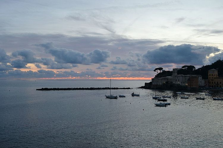 Sea Beach Sunset Outdoors Water Horizon Over Water Cloud - Sky No People Sky Nature Beauty In Nature Day Building Exterior Oil Pump Sea And Sky Sestri Levante Nature No People Nature Liguria Baia Del Silenzio Beauty In Nature Liguria,Italy Dramatic Sky Silhouette Reflection