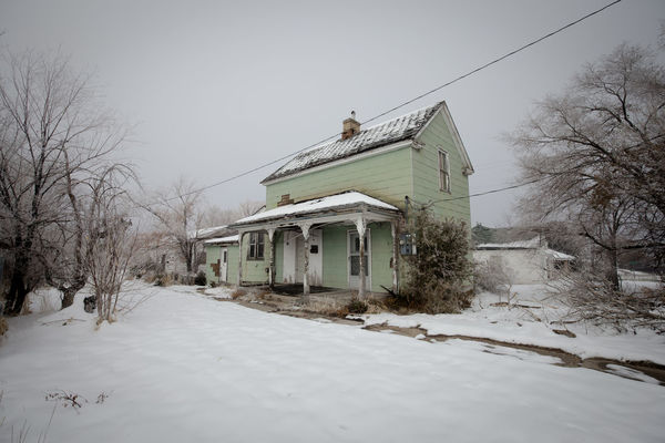 Old Man Gloom Abandoned House Utah Gloomy Snow Cold Temperature Winter Snowing Extreme Weather Bare Tree