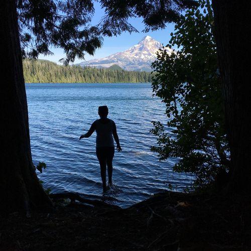 Lake One Person Silhouette Nature Water Outdoors Mountain Mountain Lake Mount Hood Lost Lake Get Lost Camp Camping DIP Take A Dip
