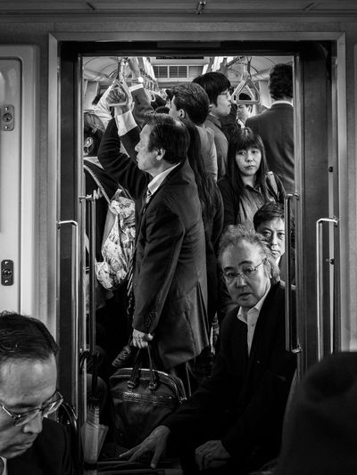 Japan Tokyo Crowded Train Large Group Of People People Real People Subway Togetherness Train