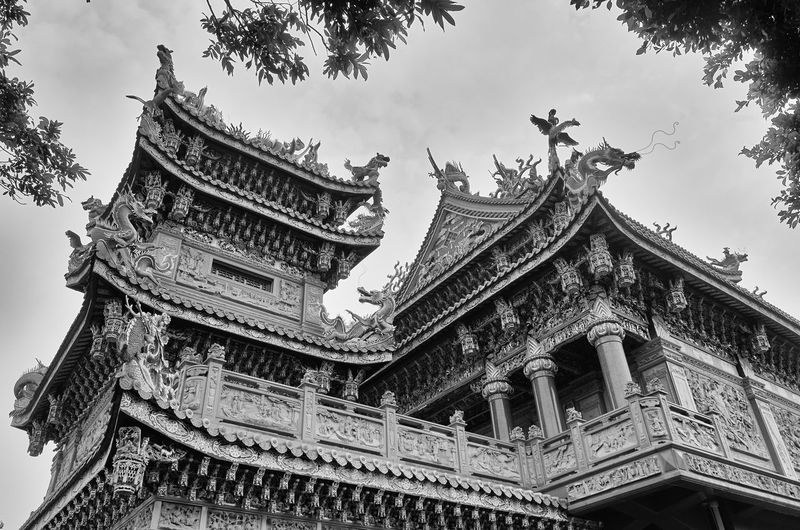 Low angle view of guandu temple against sky