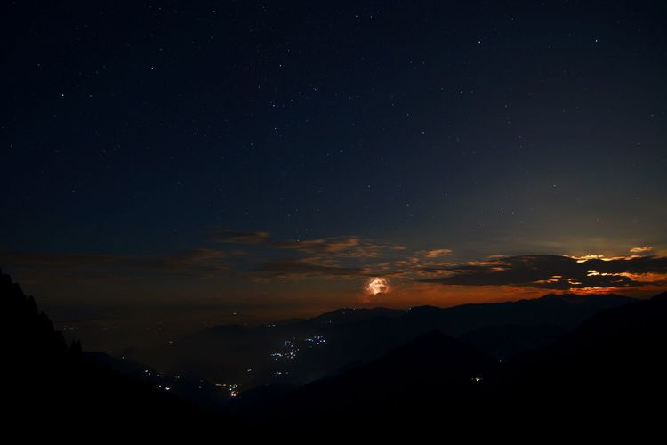 this is a very rare photo of night sky. in this picture you can see the moonrise with the stars and lightning in the mountains Star Trail Lightning Skyscraper Sky Night Nightphotography Nikon Night Photography Night View Photography Sunset #sun #clouds #skylovers #sky #nature #beautifulinnature #naturalbeauty #photography #landscape Nature EyeEm Nature Lover ASIA Mountains India Astronomy Galaxy Space Star - Space Milky Way Constellation Mountain Moon Star Trail Science Full Moon Sky Only Moonlight Starry A New Beginning EyeEmNewHere