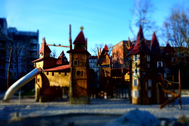 Castle Playground Blurry On Purpose Selective Focus City Life Colors Childhood 21st Century City History Sky Architecture Building Exterior Outdoor Play Equipment Slide - Play Equipment