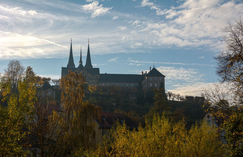 Low Angle View Of Michaelsberg Abbey Against Sky At Bamberg